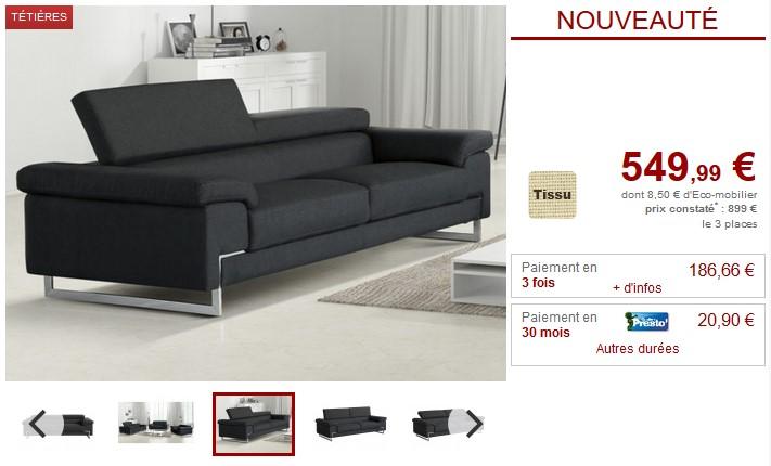 Canapé et fauteuil BERTONA en tissu coloris anthracite - Vente Unique