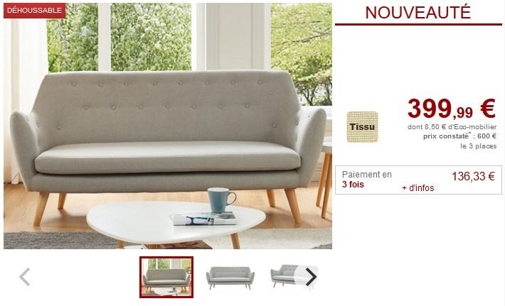 Canapé et fauteuil JENNY en tissu gris clair- Vente Unique
