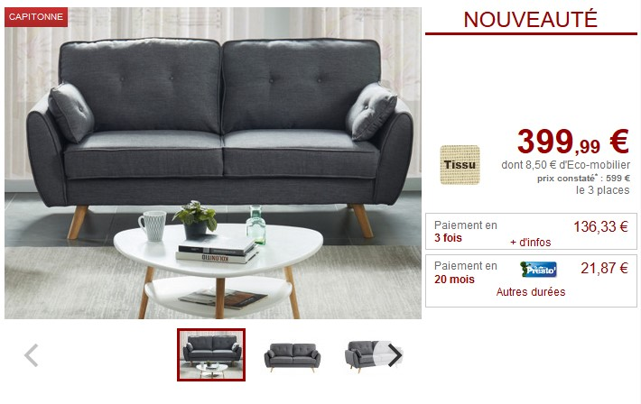 Canapé et fauteuil en tissu gris MELINA avec coussins déco - Vente Unique