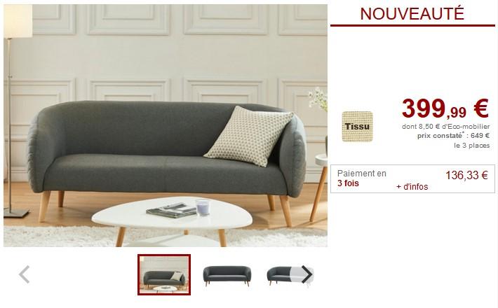 Canapés et fauteuil PENNY en tissu matelassé 3 coloris- Vente Unique