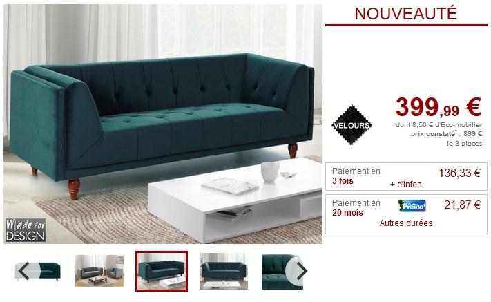 Canapé et fauteuil vintage BENICIO en velours 2 coloris - Vente Unique