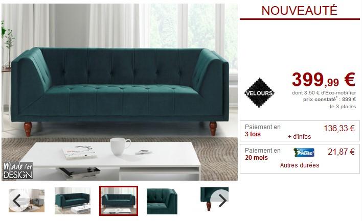 Canap et fauteuil vintage benicio en velours 2 coloris for Fauteuil et canape pas cher