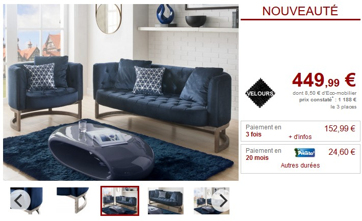 canap et fauteuil cliford en velours coloris bleu nuit canap vente unique ventes pas. Black Bedroom Furniture Sets. Home Design Ideas
