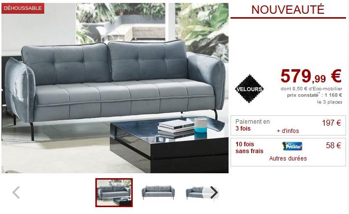 Canapé et fauteuil CLORIS en velours- Vente Unique