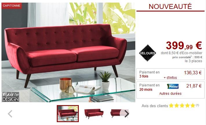 2fb134b78fe0 Canapé et fauteuil scandinave charme SERTI en velours pas cher - Canapé  Vente Unique