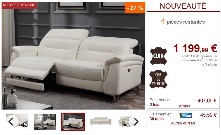 Canapé 3 places et fauteuil relax électrique AVILA - Vente Unique