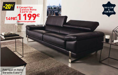 promo canap conforama canap fixe 3 places roma coloris noir ventes pas. Black Bedroom Furniture Sets. Home Design Ideas