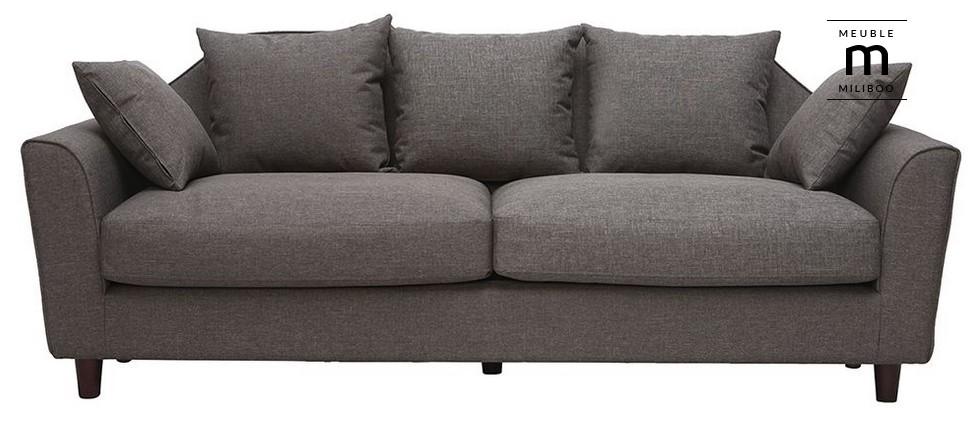 Canapé fixe design gris 3 places WINSTON - Miliboo