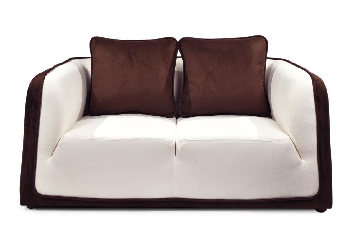 canap miliboo canap moderne italia chocolat et blanc 2 places en microfibre ventes pas. Black Bedroom Furniture Sets. Home Design Ideas