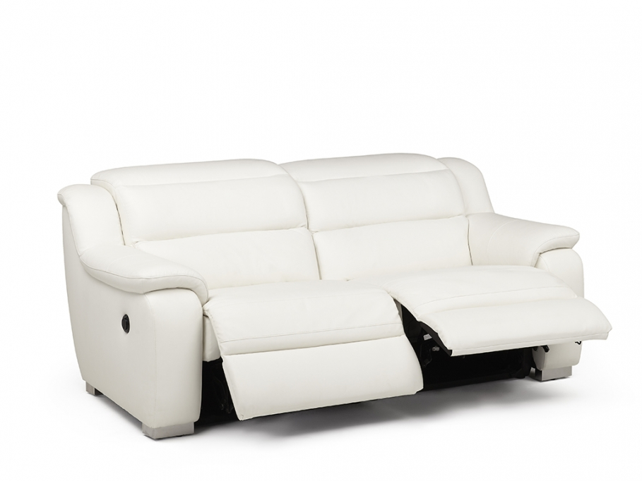 Canap 2 places relax lectrique cuir arena blanc canap for Canape blanc 2 places