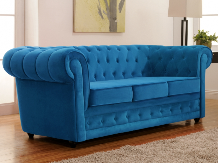Canap 3 places en velours chesterfield canap vente for Canape chesterfield pas cher