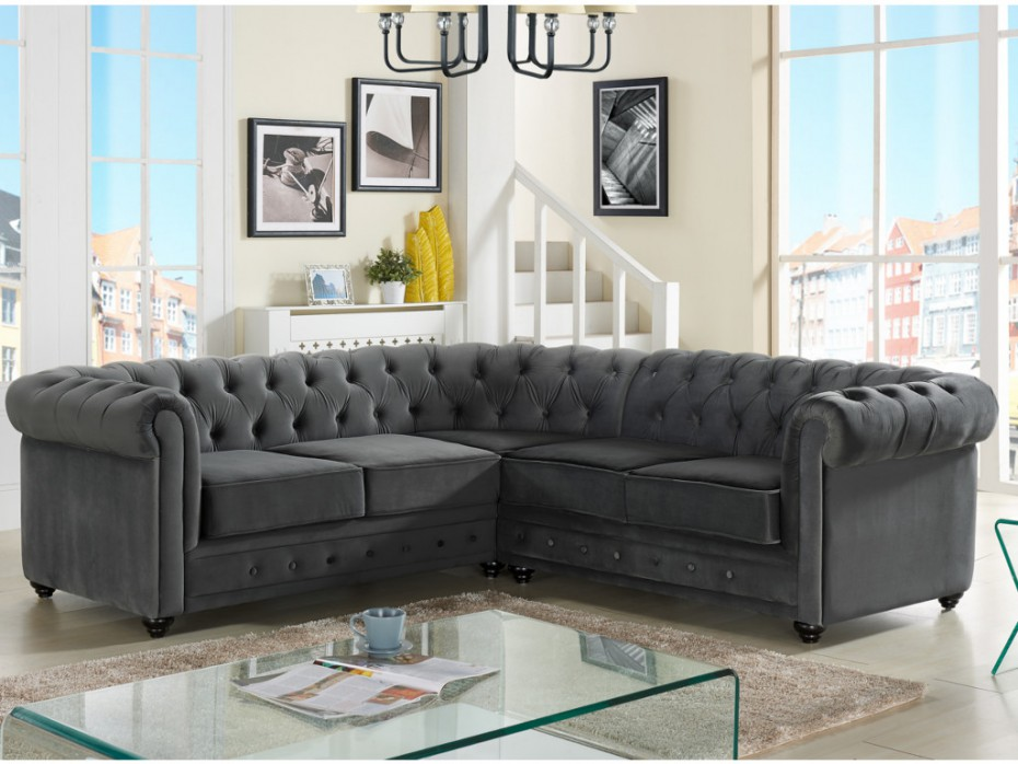 canap d 39 angle en velours anthracite chesterfield canap vente unique ventes pas. Black Bedroom Furniture Sets. Home Design Ideas