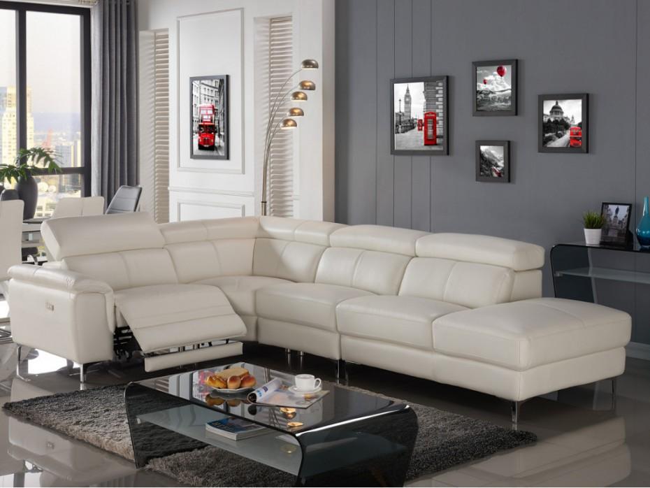 canapé d'angle droit relax électrique sitia cuir blanc