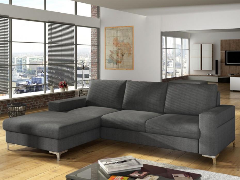 Canapé d'angle gauche convertible CHONA en tissu anthracite - Vente Unique
