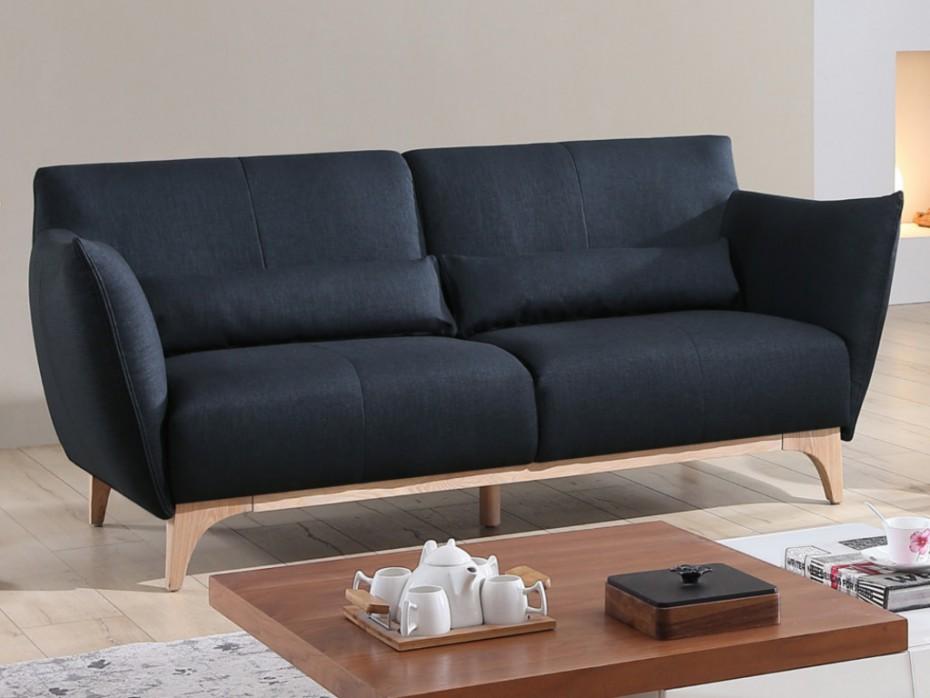 Canapé 3 places en tissu LUANDA coloris bleu nuit - Vente Unique