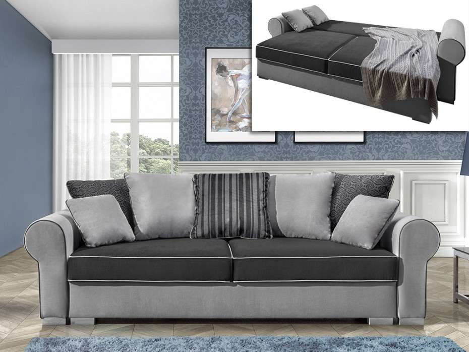 canap 4 places convertible morian en tissu anthracite canap vente unique ventes pas. Black Bedroom Furniture Sets. Home Design Ideas