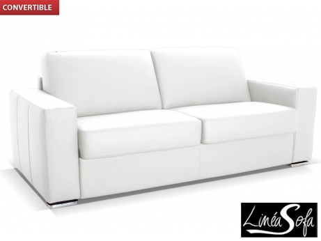canap 3 places convertible cuir delectea blanc prix 1 049 99 euros vente unique ventes pas. Black Bedroom Furniture Sets. Home Design Ideas