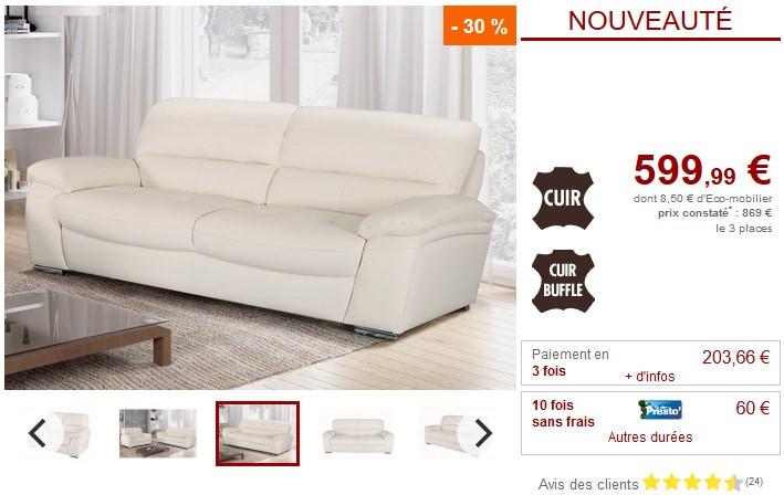 Canapé 3 places SILVESTER en cuir de buffle Blanc - Vente Unique