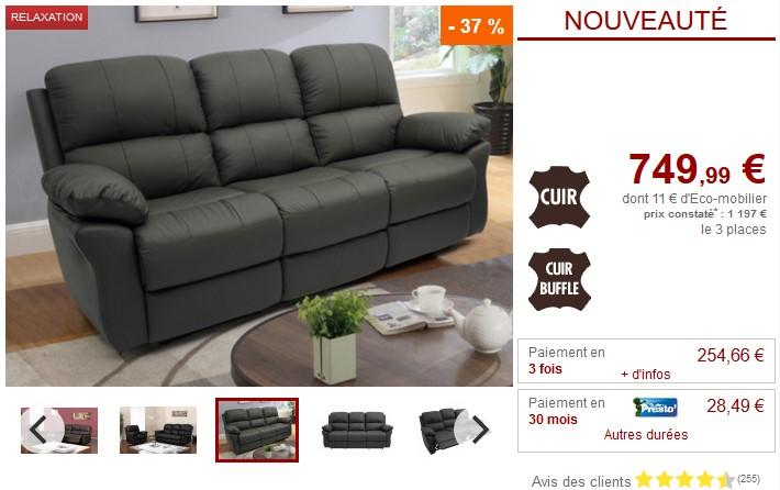 Canapé ou fauteuil relax MILAGRO en cuir - Vente Unique