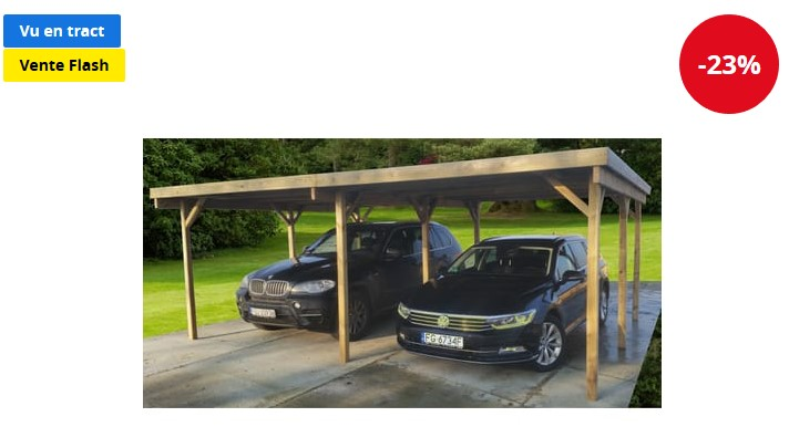 Carport bois traité Talanga 30,32 m² - Auchan