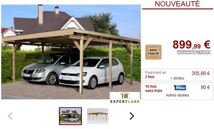 Carport double IKE en bois traité classe III - Vente Unique