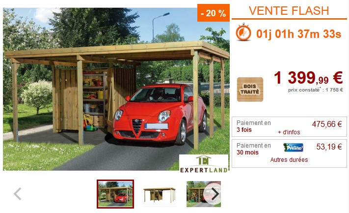 Vente Flash Carport LOTTA en bois de pin traité classe III Prix 1 399.99 € Vente Unique