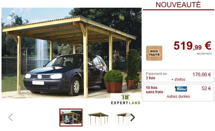 Carport TOMICA en bois traité classe III - Vente Unique