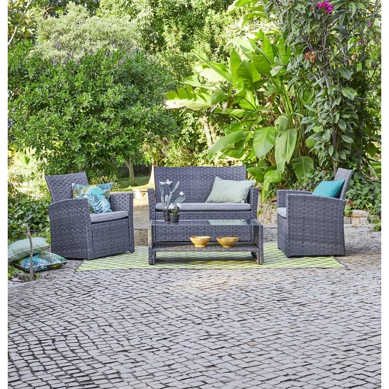 carrefour salon bas madang 4 pi ces gris pas cher salon. Black Bedroom Furniture Sets. Home Design Ideas