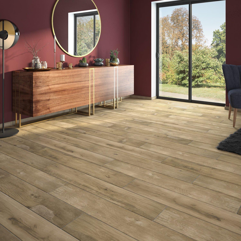 Carrelage sol et mur miel effet bois Realta - Carrelage Leroy Merlin - Ventes-pas-cher.com