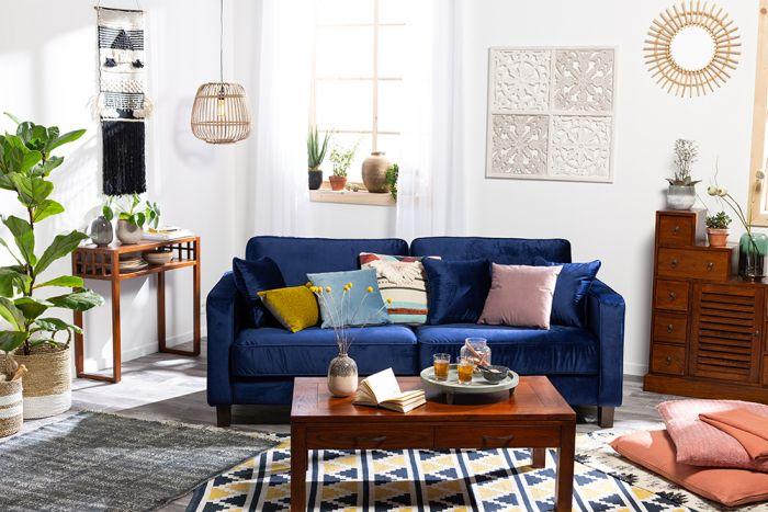 canap fixe 3 places gatsby en velours bleu pas cher. Black Bedroom Furniture Sets. Home Design Ideas