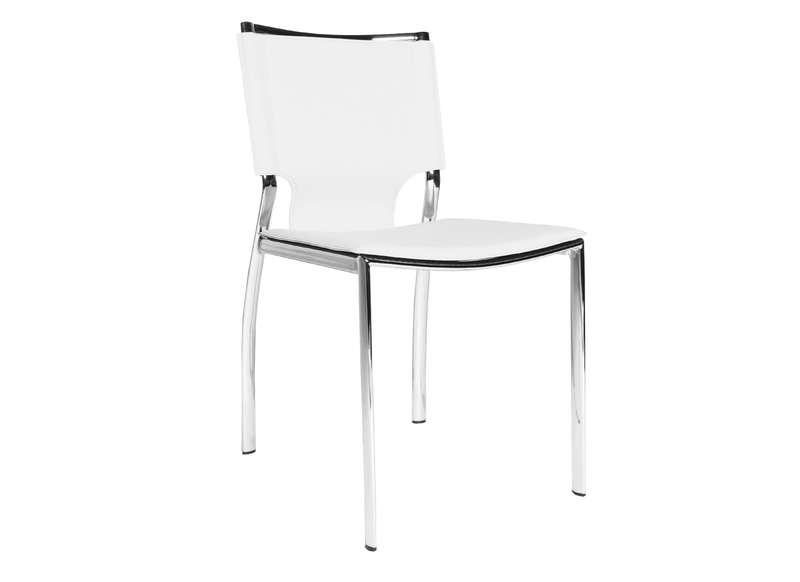 Chaise en cuir contemporaine blanc ascoli chaises for Chaise cuir blanc conforama