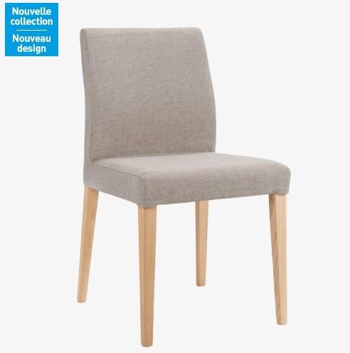 Eleonora chaise en tissu beige et pieds fr ne habitat for Chaise de salle a manger hemisphere sud