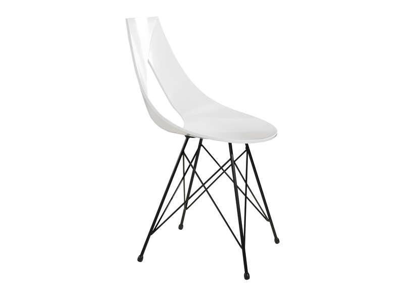 Chaise design pied acier noir blanc rubann v chaises for Chaise un pied