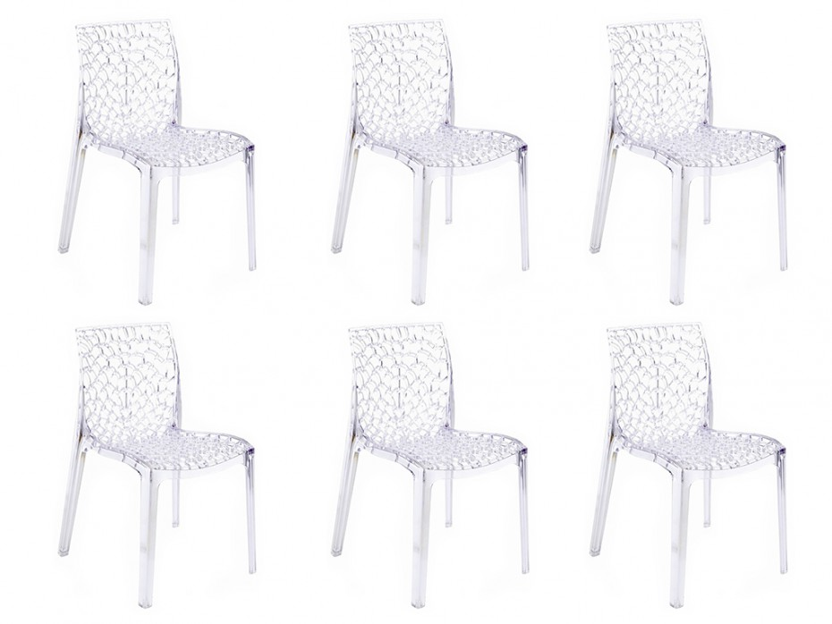 Lot de 6 chaises diademe empilables en polycarbonate chaises vente unique - Chaise polycarbonate pas cher ...