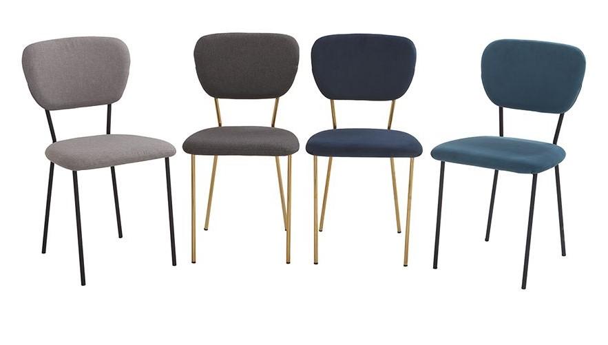 Chaises design LEPIDUS en velours bleu et structure en métal doré - Miliboo