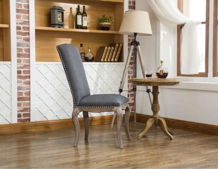 CHANTILLY Lot de 2 chaises de salle à manger en bois massif Tissu Lin gris Classique - Cdiscount