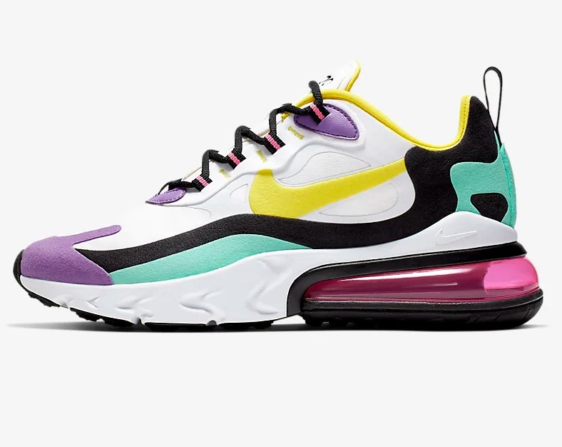 Nike Air Max 270 React Geometric Abstract Blanc/Noir/Violet brillant/Jaune dynamique pour Femme