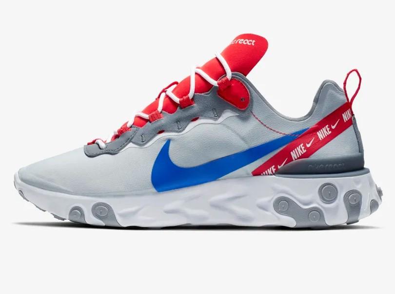 Nike React Element 55 Gris loup/Rouge Habanero/Bleu électrique pas ...