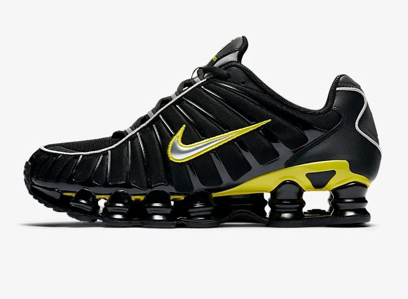Nike Shox TL Noir/Jaune dynamique/Argent métallique pas cher ...