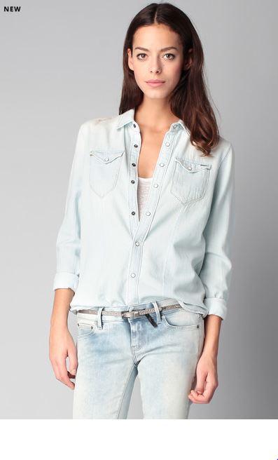 chemise denim manches longues bleu g star chemise femme monshowroom ventes pas. Black Bedroom Furniture Sets. Home Design Ideas