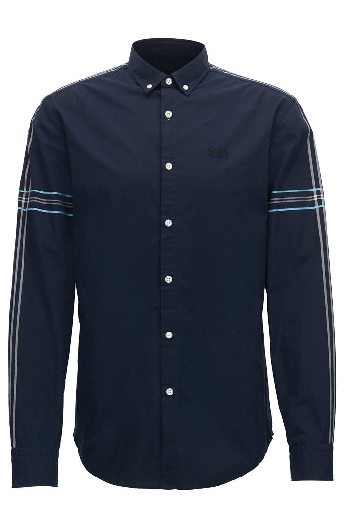 Chemise Slim Fit en popeline de coton BRI_S Hugo Boss avec col à pointes boutonnées