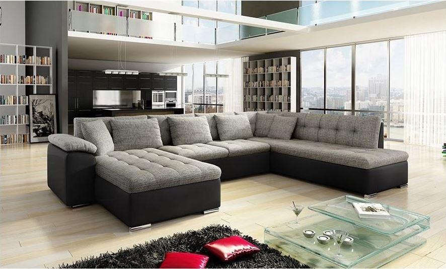 CHLOE DESIGN Canapé d'angle convertible Alta I gris et noir Angle gauche - Soldes Canapé Rue du Commerce