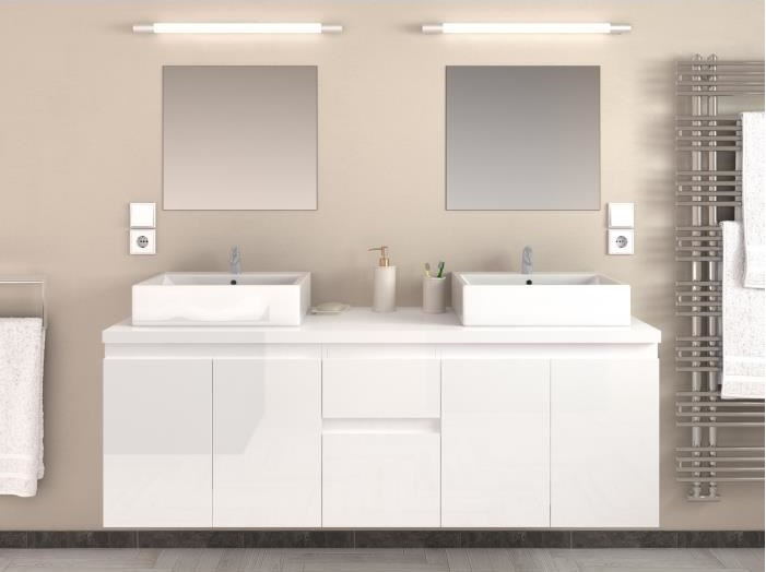 CINA Ensemble salle de bain double vasque pas cher - Meuble Salle de ...