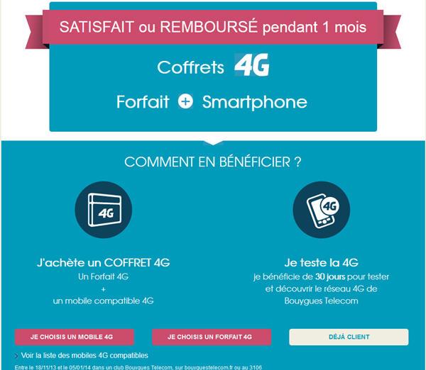 Bouygues Telecom Coffret 4G Satisfait ou remboursé