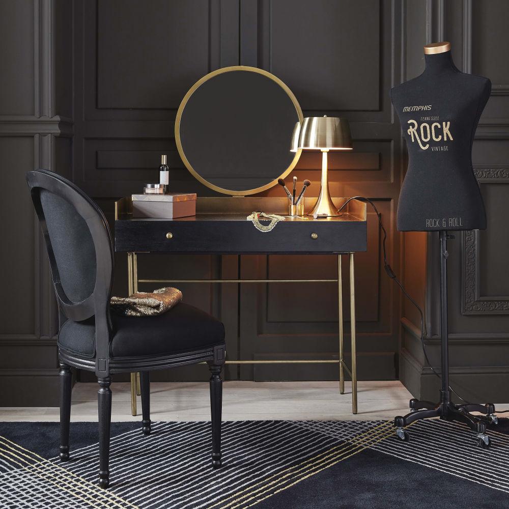 coiffeuse 1 tiroir jagger en acacia massif noir et m tal dor coiffeuse maisons du monde. Black Bedroom Furniture Sets. Home Design Ideas