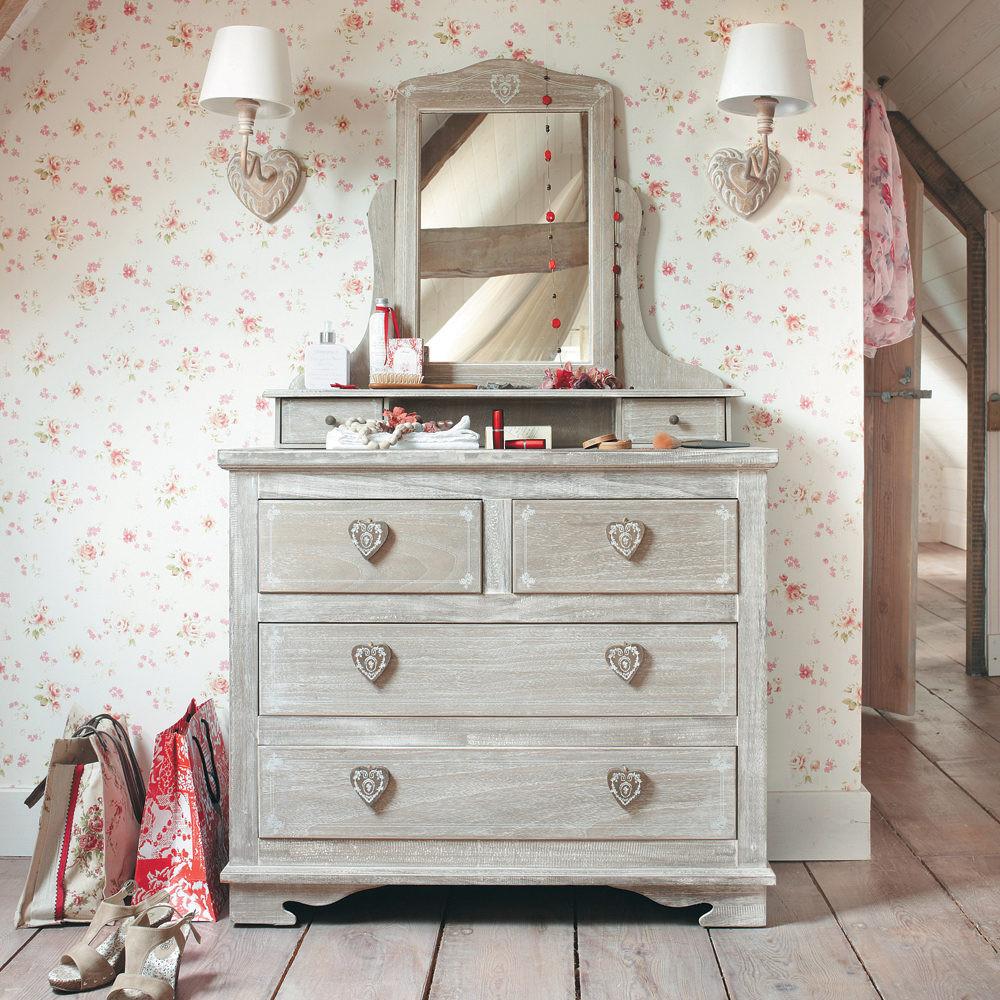 Coiffeuse en bois de paulownia grisée Camille - Maisons du Monde