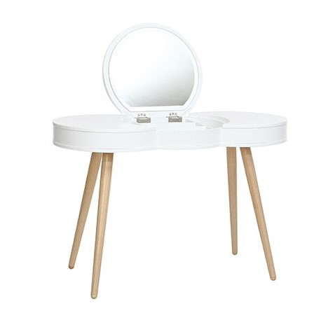 coiffeuse scandinave nube bois blanc miroir rond pas cher. Black Bedroom Furniture Sets. Home Design Ideas