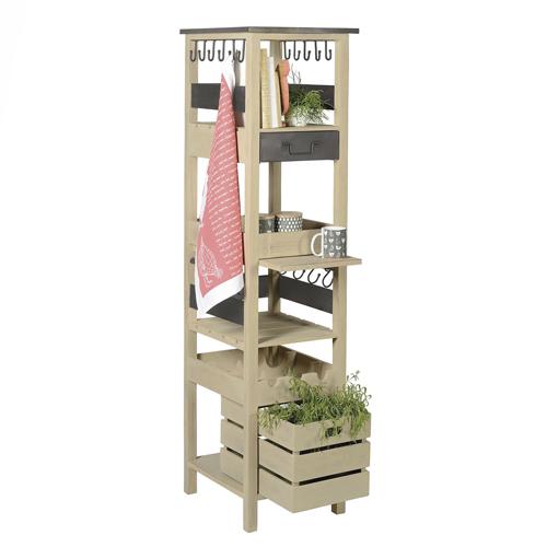 colonne de rangement cuisine bois et m tal jardin d 39 ulysse rangement cuisine decoclico. Black Bedroom Furniture Sets. Home Design Ideas
