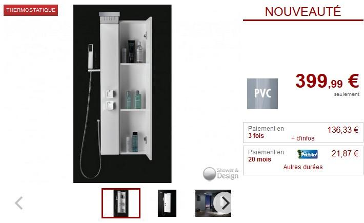 Colonne douche avec placard TATIANA - Vente Unique