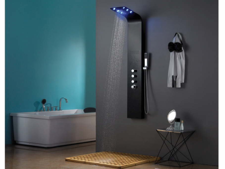 colonne de douche baln o thermostatique leds solaria vente unique ventes pas. Black Bedroom Furniture Sets. Home Design Ideas